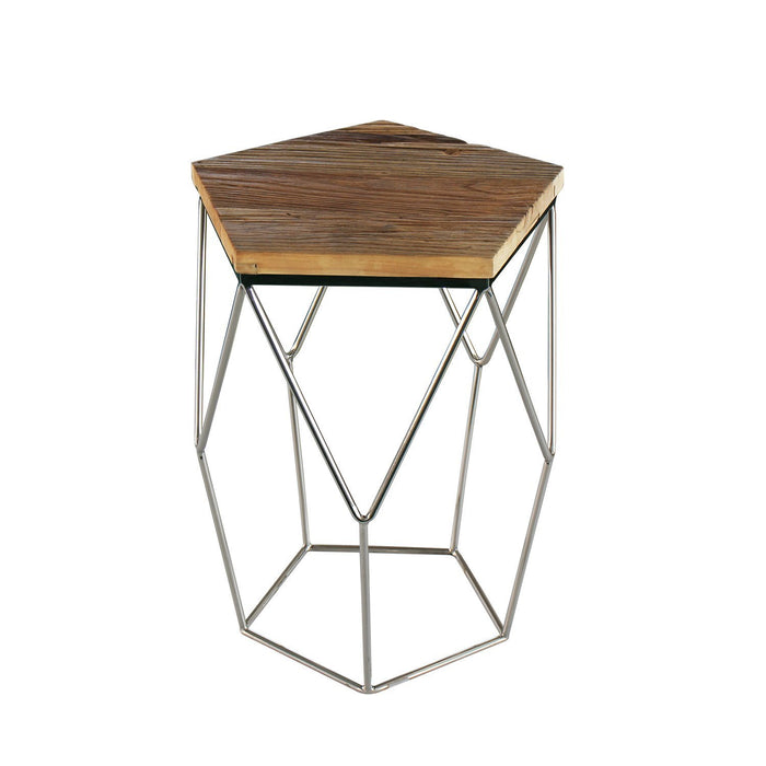 Magari Furniture GL1552 Pentagono Lato Reclaimed Elm Wood Side Table-Long Mountains