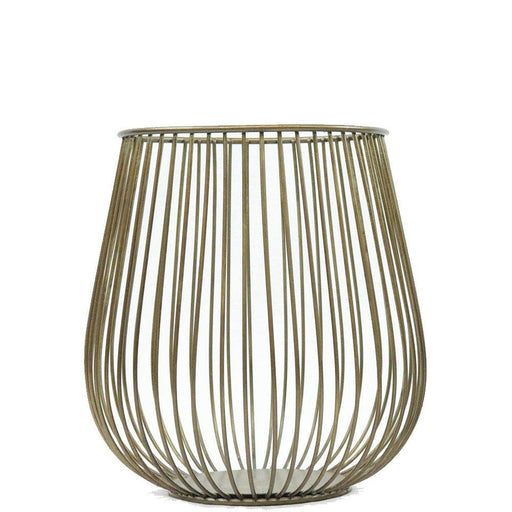Magari Furniture Metal Basket Candleholder, Large, Rustic Gold-Long Mountains