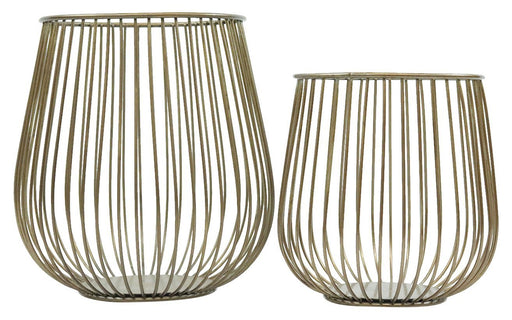 Magari Furniture Metal Basket Candleholder, Set of 2, Rustic Gold, 2 Piece-Long Mountains