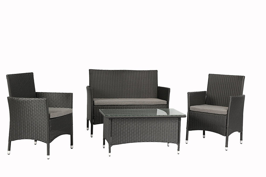 Magari Furniture NGI-7 Giorno Rattan Wicker Patio Set (4 Pieces), Black-Long Mountains