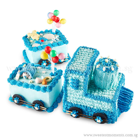CFR04 Too-Too Train Sweetest Moments Full Month Cake Buttercream Blue