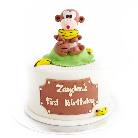 CFR05 Cheeky Monkey Sweetest Moments Full Month Cake Fondant