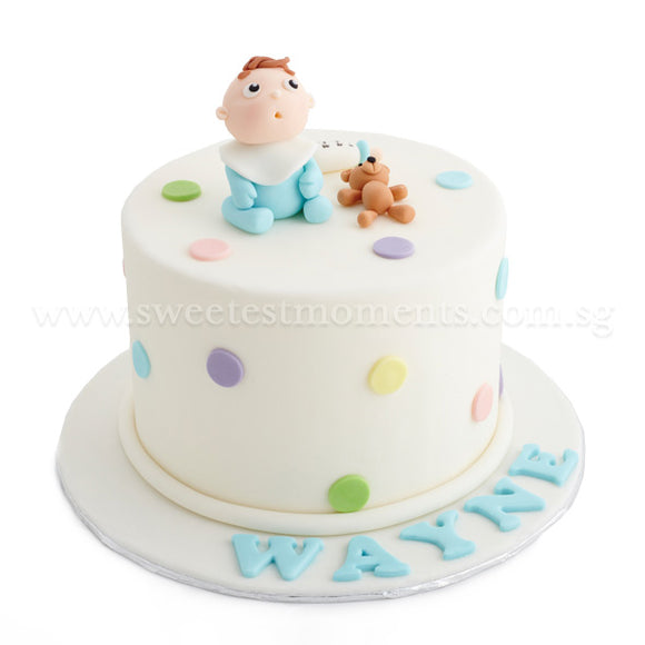 CFR19 Oh Baby Baby Sweetest Moments Full Month Cake Fondant Boy Blue