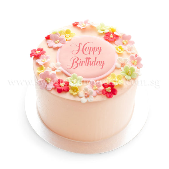 CRR06 Tropical Blooms Sweetest Moments Birthday Cake Buttercream Fondant