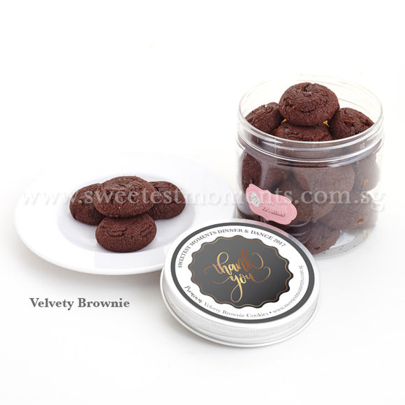 KT Personalised Premium Celebration Cookies Sweetest Moments Corporate Door Gifts Velvety Brownie Thank You Black & Gold