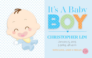 Personalised BabyCards for Boys Sweetest Moments Baby Boy Classic BabyCard