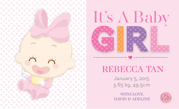 Personalised BabyCards for Girls Sweetest Moments Baby Girl Classic BabyCard