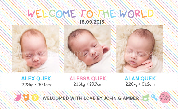 Personalised BabyCards for Triplets Sweetest Moments Welcome Babies BabyCard