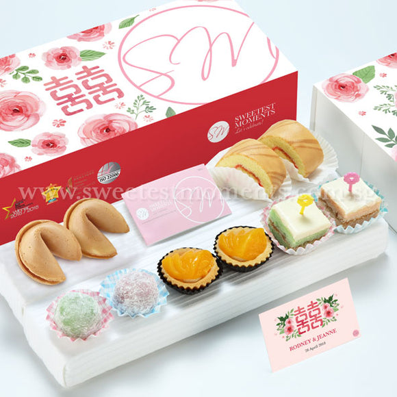 WE14 Whimsical Classic Wedding Guo Da Li Package Swiss Rolls 旺旺 Cookies Pastel Cubes Peachy Tarts Mochi Romantic Blooms