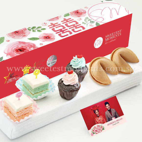 WL06 Lovey Munchy Wedding Guo Da Li Package Sweetest Moments Mini Cupcakes Pastel Cubes 旺旺 Cookies Peony Romance Box