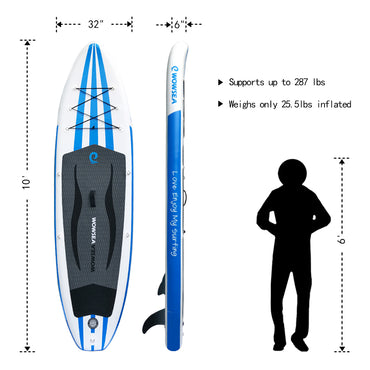 WOWSEA Gonflable Stand Up 10 pouces Paddle Board AN14 iSUP Package