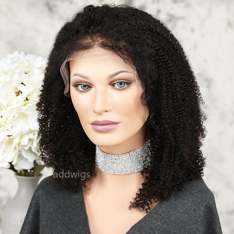 Afro Kinky Curly Lace Front Wig 100% Real Human Hair For Black Women