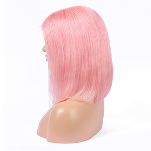 Pink Human Hair Fashion Bob Wig 2018 Summer Colorful Lace Wigs