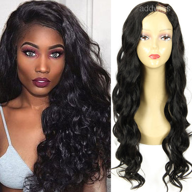 U Part Wig Human Hair For Women Body Wave Left Side Part Color #1