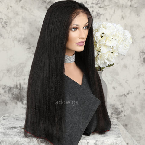 Yaki Straight Lace Front Wig Medium Yaki Texture