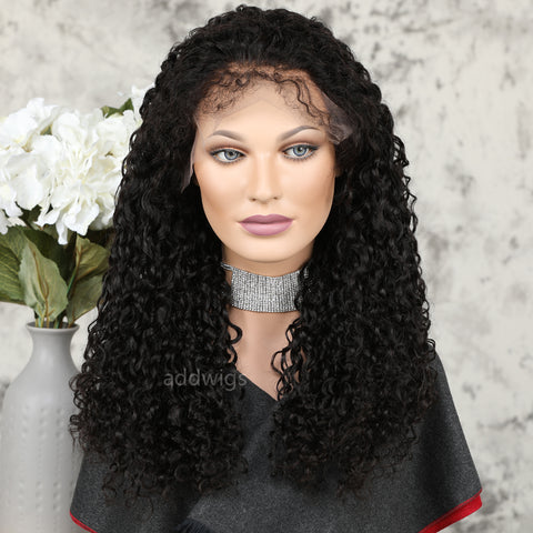 13*6 inches Deep Parting Lace Front Human Hair Wigs Full Curly Style