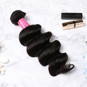 2 Bundles With Lace Closure Malaysian Human Hair Deep Wave Hair Weave With Closure