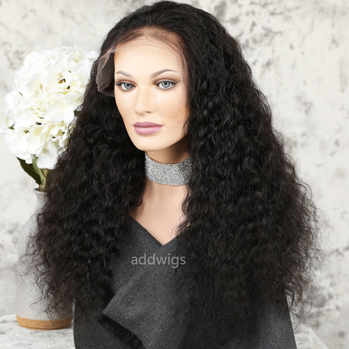 Deep Wave Lace Front Wigs Human Hair Glueless Wig With Elastic Bands