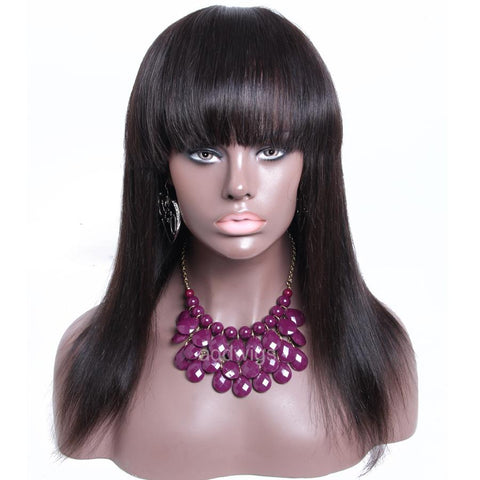 Full Lace Wigs Silk Straight With Bang Natural Black Full Lace Wig