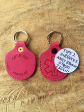 Real Leather Medical ID Keyring - Pink
