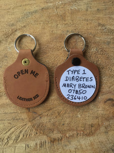 Real Leather Medical ID Keyring - Red