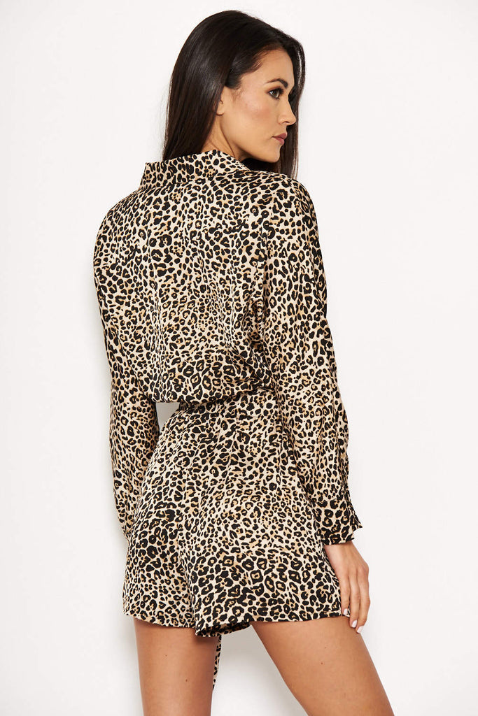 Animal Print Wrap-Style Playsuit
