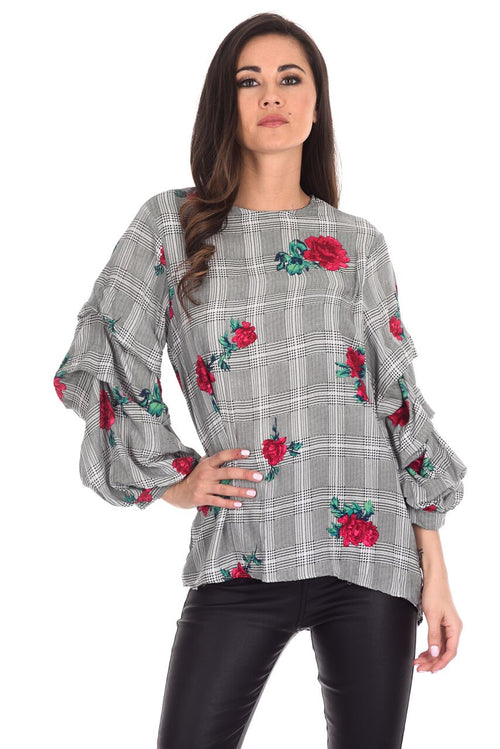 Black Floral Print Ruffle Sleeve Top