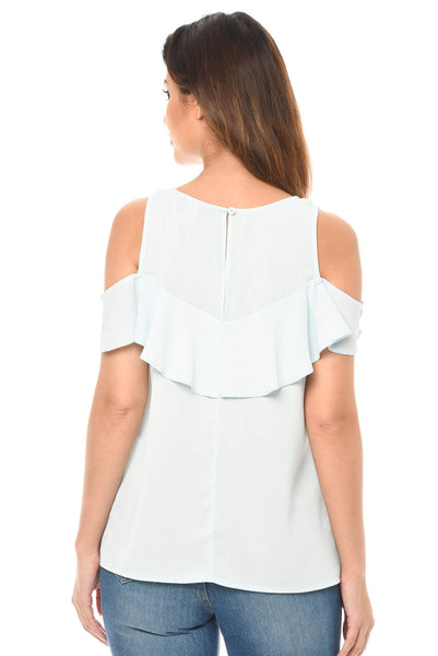 Blue Cold Shoulder Sheer Top