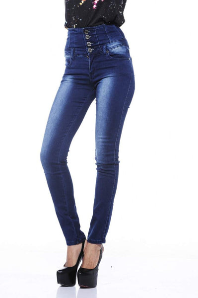 High Waist Fitted Blue Jeans