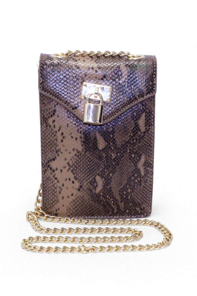 Faux Snake Lock Rectangle Bag