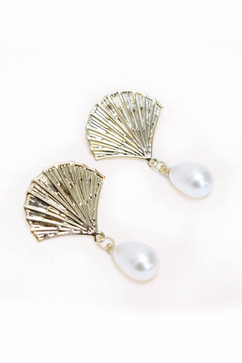 Gold Shell Pearl Drop Earrings