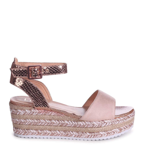MOJITO - Rose Gold & Nude Espadrille Flatform With Glitter Insock