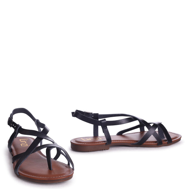 CAMILLO - Black Nappa Strappy Gladiator Style Sandal With Toe Post