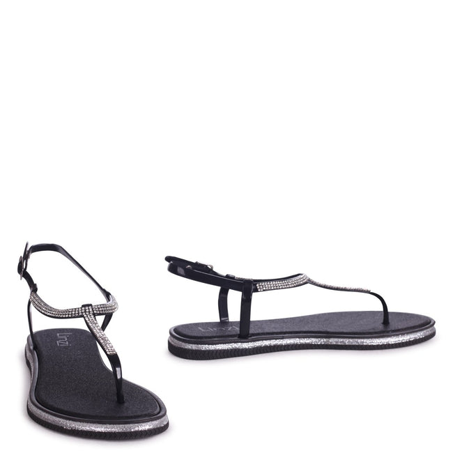 STORM - Black Glitter Jelly Sandal With Diamante Toe Post