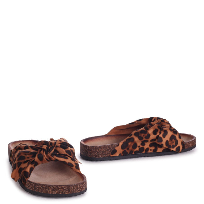 DEANA - Leopard Suede Slip On Slider With Large Bow Front Strap