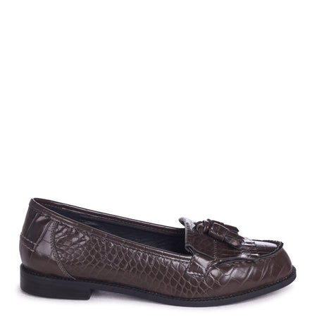 ROSEMARY - Red Croc Faux Leather Classic Slip On Loafer