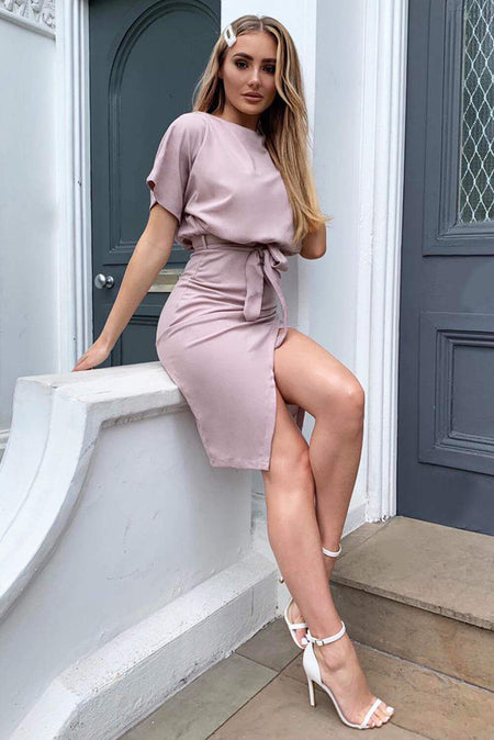 Grey Strapless Ruched Midi Dress