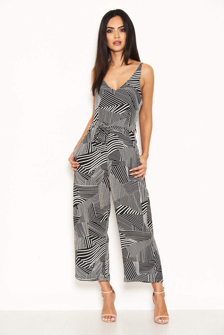 Navy Leaf Print Wrap Front Jumpsuit