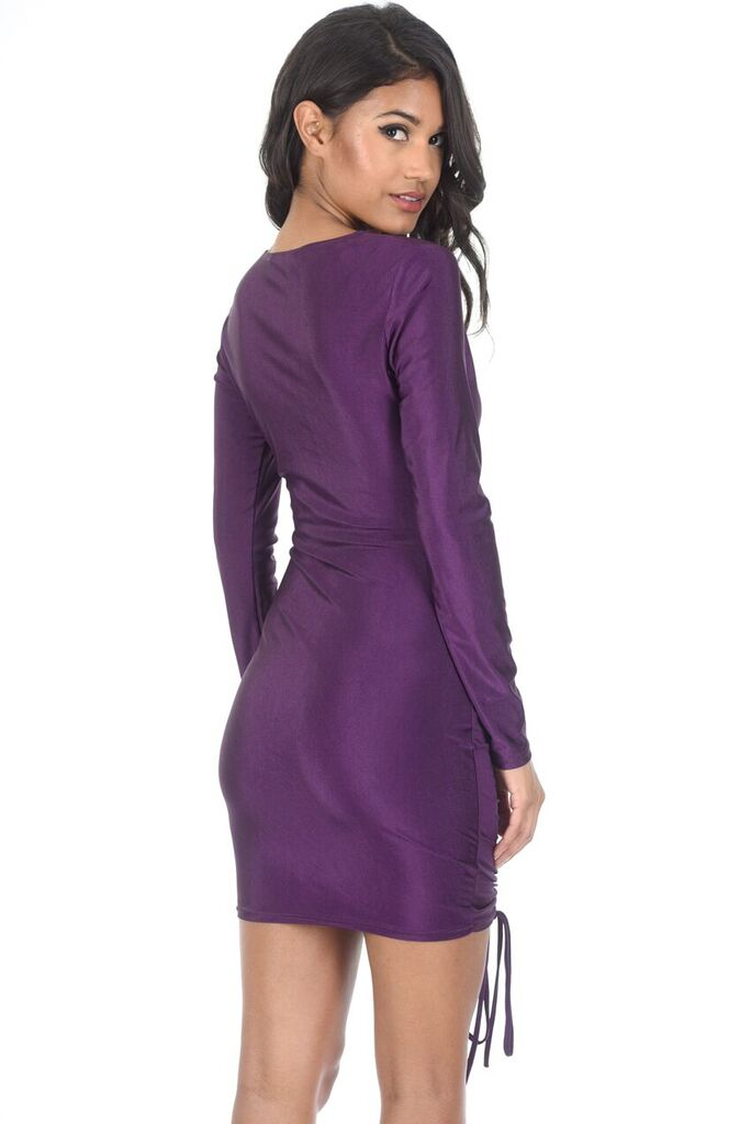 Plum Long Sleeved Ruched Dress