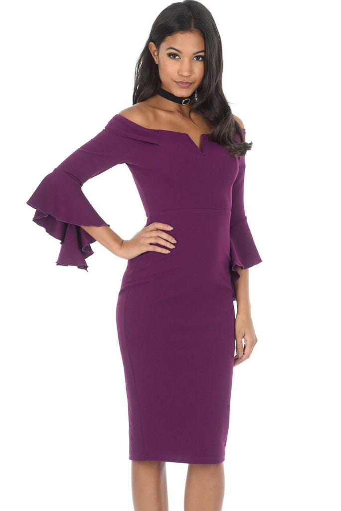 Plum Off The Shoulder Flare Midi Dress