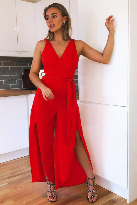 Red Floral Printed Jumpsuit