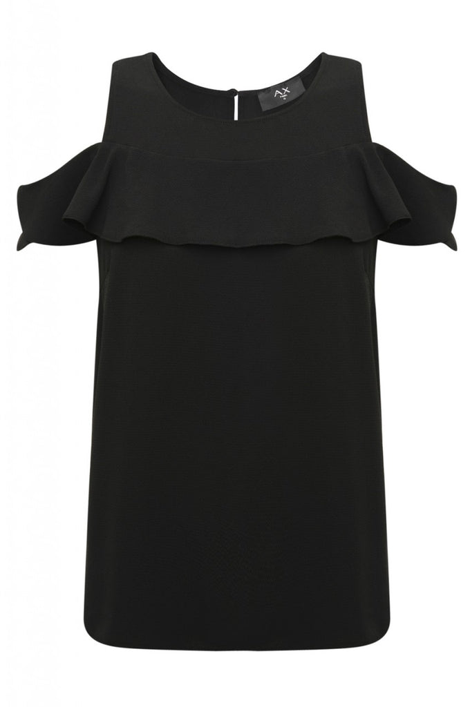 Black Ruffle Top with Cold Shoulder