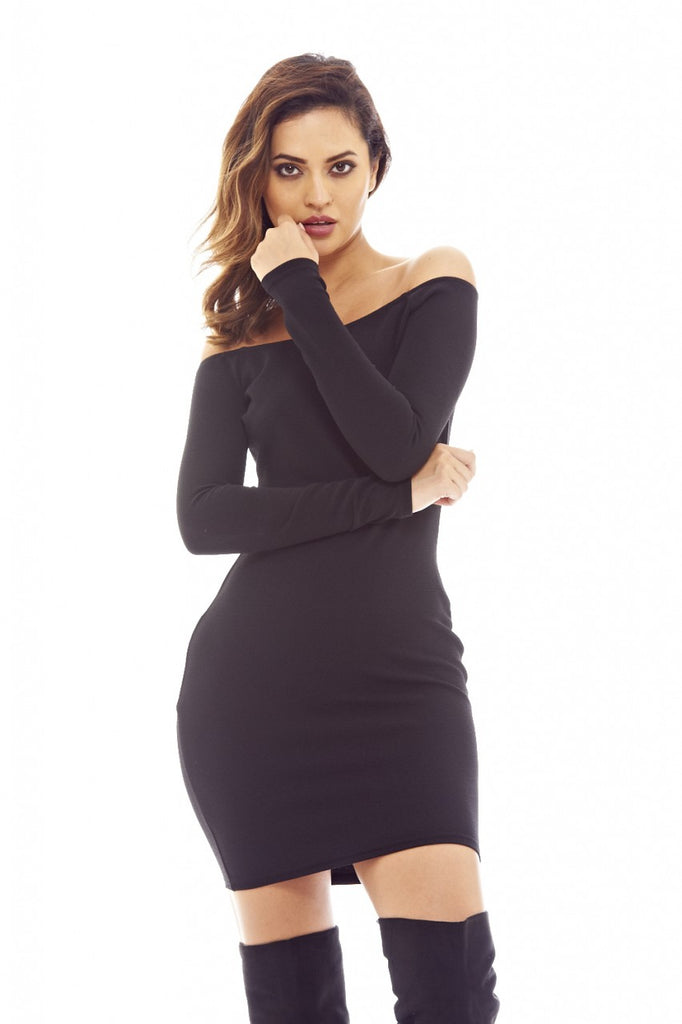 Black Bodycon Dress with Off-The -Shoulder Detail