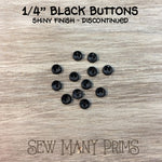 DISCONTINUED - Shiny Black Buttons - dipped top, 1/4""