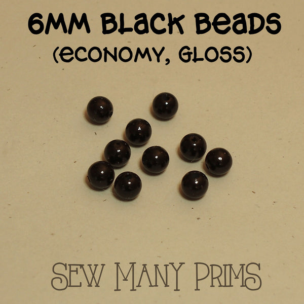 6mm plastic black beads with gloss finish