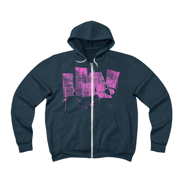 Grunge HA! pink - Unisex Sponge Fleece Full-Zip Hoodie - Herban Apparel
