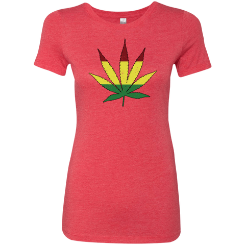 Distressed Rasta Leaf -  Ladies' Triblend T-Shirt - Herban Apparel