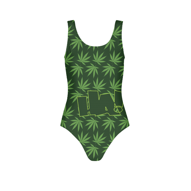 Leaf and Logo Womens All-Over Print  One-Piece Swimsuit - Herban Apparel