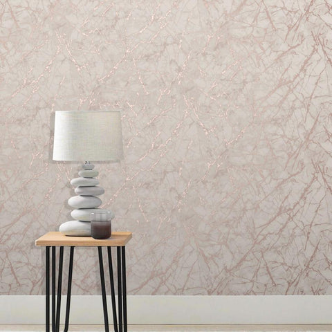 Fine Decor Wallpapers Marblesque Dusky Pink / Rose Gold Metallic Marble Wallpaper