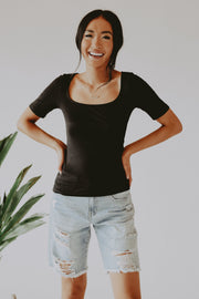 Everyday Square Neck Tee in Black